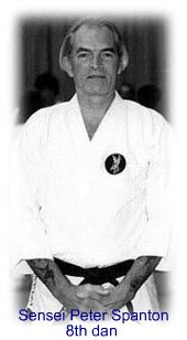 Peter Spanton (8th dan) is one of Britain's first generation of karate black belts, gaining his first dan in 1966 under tatsuo suzuki (then a 6th dan) in the all-britain karatedo association's honbu in clapham, se london. even as a novice, peter was always an effective karateka – as the resident japanese instructors at that time will confirm. the abka's secretary, len palmer, confided that mr. suzuki grew so annoyed at peter's fighting skills that he sent for the all-japan champion, hisaomi fujii, to come to britain and sort him out! though peter got the worst of their encounter, he stood up well and gave a good account of himself.